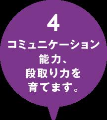 4.コミュニケーション能力、段取り力を育てます。